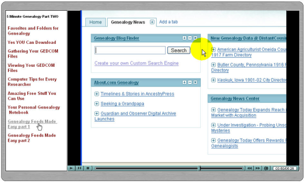 Screen shot of lessons on Disk TWO